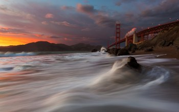 san francisco,golden gate bridge,marshall beach
