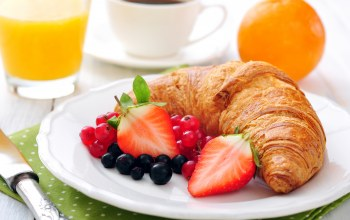 сок,croissant,juice,strawberries,orange,coffee,fruit,клубника,breakfast,cup