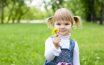 park,Little girl,children,flower,trees,childhood,child,happiness