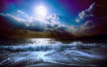 ocean,waves,landscape,full moon,midnight,clouds,sky,Moonlight