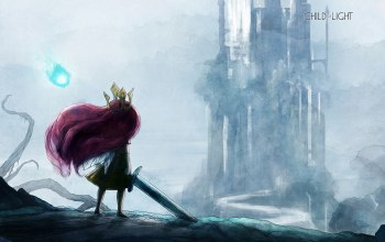 wallpaper,crown,sword,Child of light,purple hair