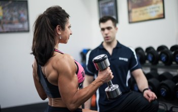 muscular back,arms,coach,Dumbbell