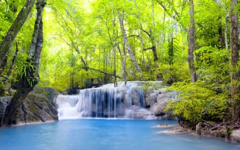 river,водопад,emerald,waterfall,forest,landscape