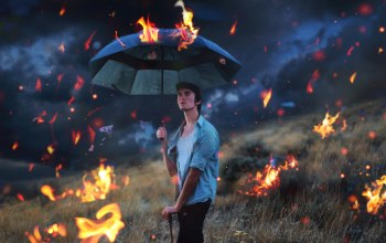 Raining fire,surreal,selfportrait,conceptual