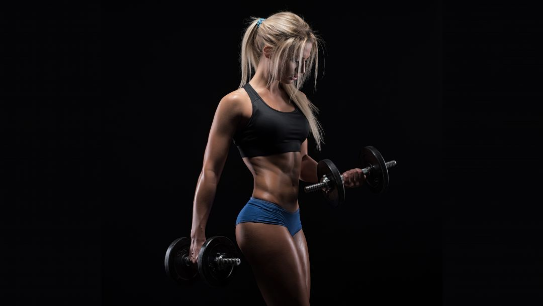 pose,muscles,blonde,dumbbells,figure,workout