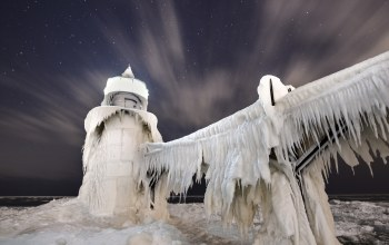 ночь,St. joseph lighthouse,lake michigan