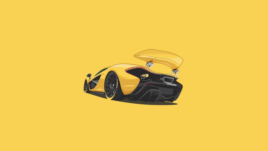 Mclaren,rear,yellow,supercar,minimalistic