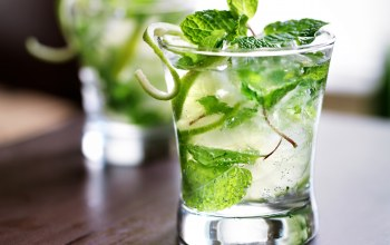 lime,cocktail,ice,mint leaves,коктейль,лайм,листья мяты