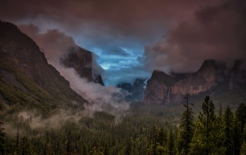 storm,yosemite national park,tunnel view