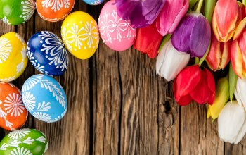 colorful,Easter,spring,eggs,wood,tulips,яйца,happy,holiday