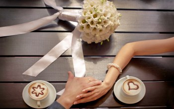 couple,Bouquet,coffee,Любовь,hands,wedding,цветы,cup