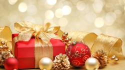 merry christmas,red gold,new year,lights,box,ribbon,bokeh,decoration,Red,bow,gift,balls