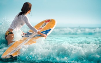 girl,surfboard,waves