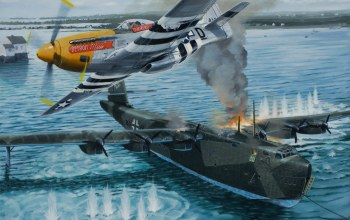 ww2,war,painting,P 51 d mustang,attack