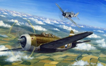 war,painting,aviation,ww2,aircraft,air combat,P 47 thunderbolt,drawing,dogfight