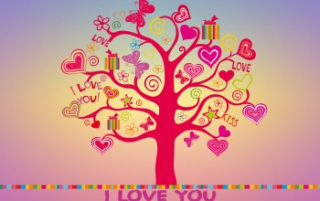 tree,sweet,background,Butterfly,I love you,colorful,Любовь