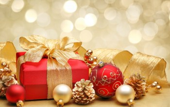 merry christmas,red gold,lights,box,ribbon,bokeh,decoration,Red,bow,gift,balls
