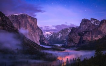 National park,Tunnel,Yosemite,valley,fog,waterfall