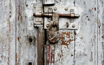 White,Door,old padlock,screw,nail