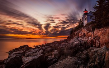 Acadia national park,lighthouse,Sunset