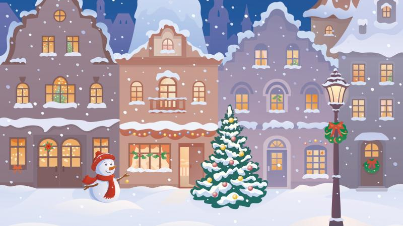 winter,snow,merry christmas,Snowman,houses,town,christmas tree
