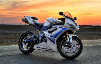 White,Sunset,daytona 675,Triumph,bike,дейтона