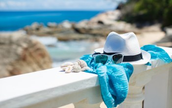 beach,Hat,glasses,shells,vacation,blue sky,summer,accessories