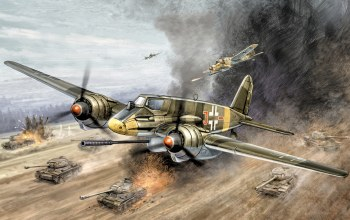 painting,aviation,ww2,war,ground-attack aircraft,Henschel hs 129 b3