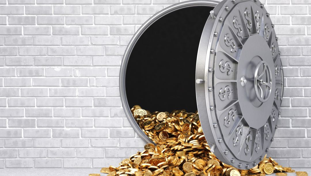 reinforced door,Gold,gray,wall,money,wealth