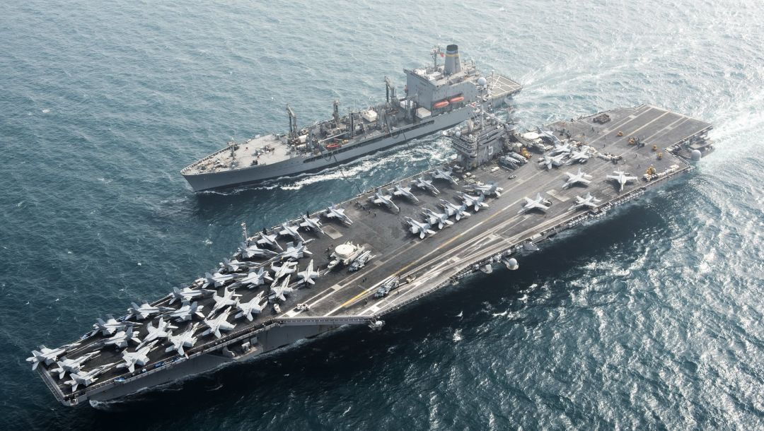 Aircraft carrier uss harry s. truman (cvn 75),replenishment oiler usns pecos (t-ao 197)
