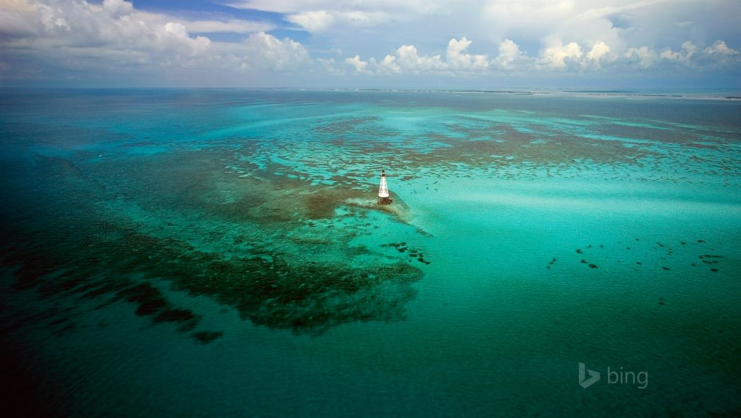 маяк,Alligator reef light,Облака,florida keys,сша