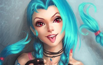 язык,Jinx,league of legends,blue hair