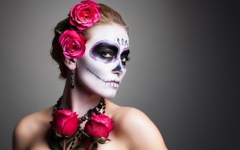 woman,pose,Day of the dead,makeup