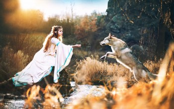 wolf with elves princess,эльфийка