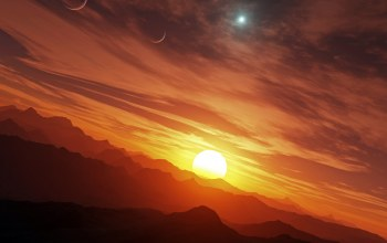 Звезда, sun,Sunset,planets,mountains,планеты