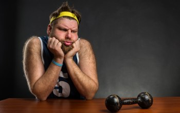 thinking,Fat,hairy,Dumbbell