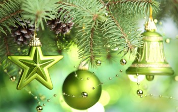 stars,green balls,Bell,merry christmas,christmas tree decoration