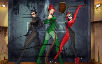 dc comics,harley quinn,gotham city sirens,Catwoman,poison ivy