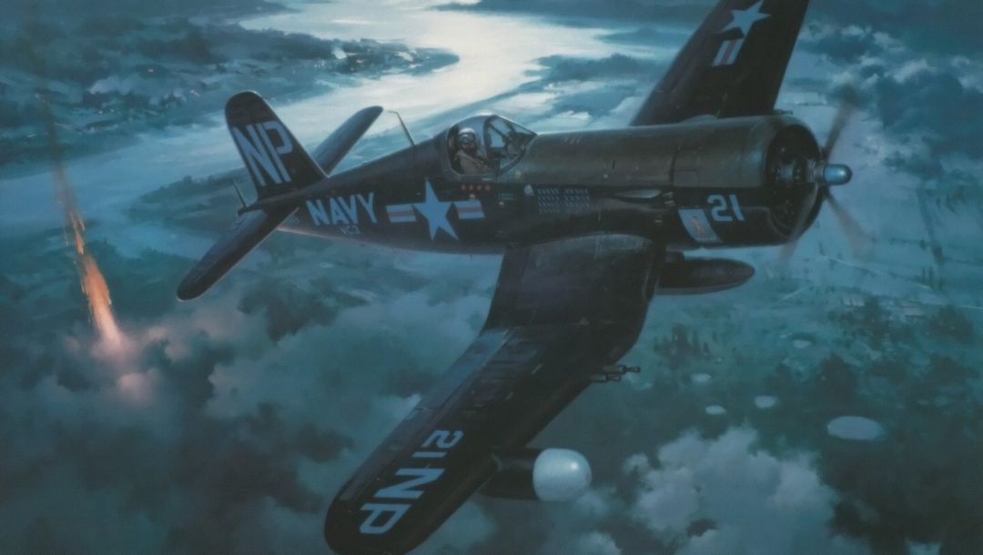 war,aircraft,aviation,Vought f4u corsair,roy grinnell,painting,pacific fighter,ww2