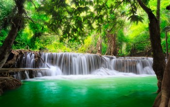 river,водопад,flow,forest,water,waterfall,emerald