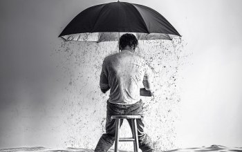 rain,boy,surreal,stool