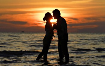 Любовь,couple,people,Sunset,поцелуй
