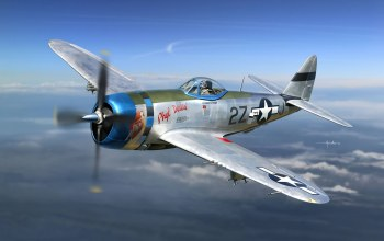 painting,aircraft,drawing,dogfight,air combat,aviation,war,ww2,P 47 thunderbolt