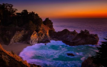 seascape,california,биг-сюр,landscape,mcway falls,Big sur,калифорния