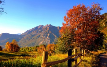 Road,autumn,colorful,mountains,grass,leaves,trees,rocks,path,colors,forest,fall