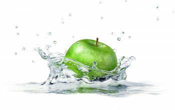 apple,white background,sprays,брызги,water,яблоко, вода