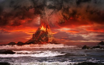 mountains,ocean,volcano,Red