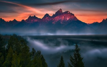 mountains,snake,fog,river,blue,clouds,overlook,sky,grand teton,National park,summer