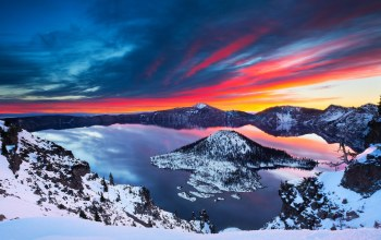 sunrise,crater lake,Пейзаж