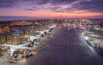 frankfurt airport,Germany,sunrise